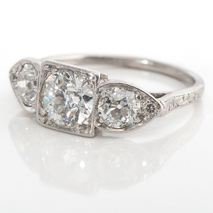 Ladies Iridium Platinum Three-Stone Diamond Ring