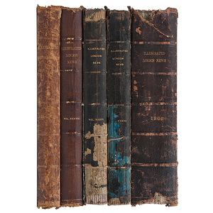 Illustrated London News Group of Fourteen Bound Civil War-Period Volumes