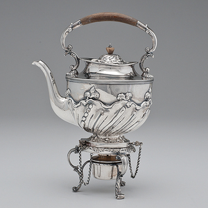 English Sterling Tea Kettle-on-Stand