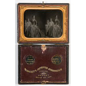 Mascher's Improved Stereoscope Cased Stereo Ambrotype of Mother and Daughter