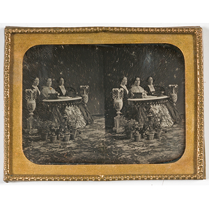 Unusual Cased Stereo Daguerreotype of Three Educated Women