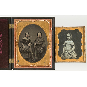 [Cased Images] Daguerreotype of Young Girl with Her Doll, Plus Chase Ambrotype of Two Children