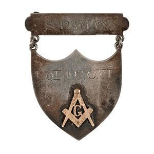 German-Silver Masonic ID Shield Inscribed to S. Daman, Co. I., 103rd OVI