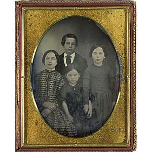 Half Plate Daguerreotype of a Widow and Her Children,