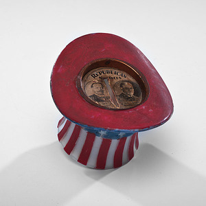 Taft & Sherman Milk Glass Uncle Sam Top Hat Jugate Bank