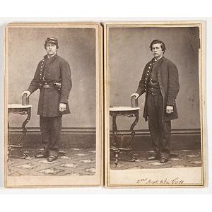 Pair of CDVs Identified as Pvt. Edmund M. Thompson, 2nd RI