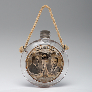 McKinley & Roosevelt Jugate Glass Flask
