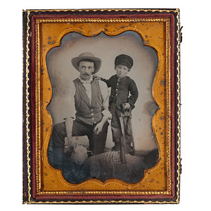 Unusual Quarter Plate Occupational Ambrotype of A Butcher & Son About to Slaughter a Sheep