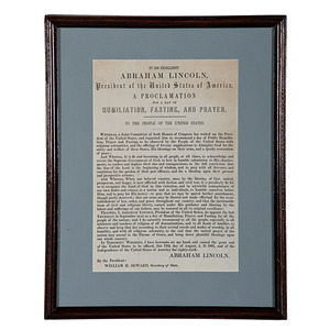 Abraham Lincoln, Presidential Proclamation For A Day of Humiliation, Fasting, and Prayer, Broadside