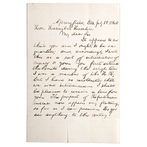 Important Abraham Lincoln Letter Introducing Himself to his First Vice President, Hannibal Hamlin, 18 July 1860