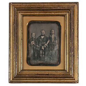 Beautifully Posed Full Plate Daguerreotype of a Father and Two Children