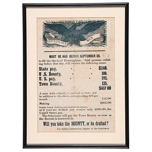 Civil War Illustrated Recruiting Broadside, Framingham, Massachusetts