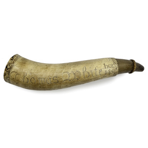 Engraved Powder Horn Belonging to Thomas White and Dated 1759