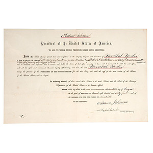 Hannibal Hamlin's Appointment as Collector of Customs, 31 August 1865