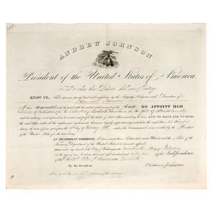 Hannibal Hamlin's Appointment as Collector of Customs, 19 February 1866