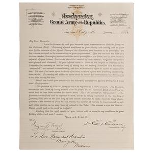 Hannibal Hamlin Appointment of GAR Aide-de-Camp, 1 January 1889