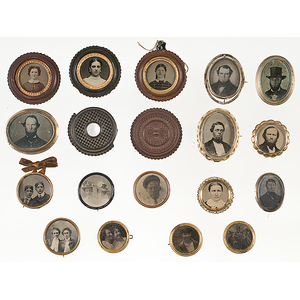 Group of Tintype Pins and Pendants