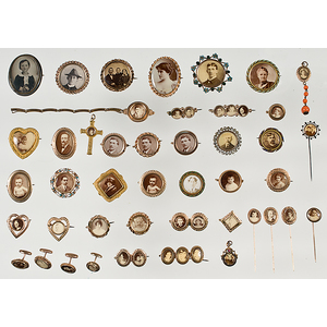 Large Group of Photographic Jewelry Including Pins, Brooches, Pendants, Cuff Links