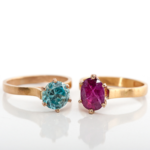 Ruby and Zircon 14 Karat Rings