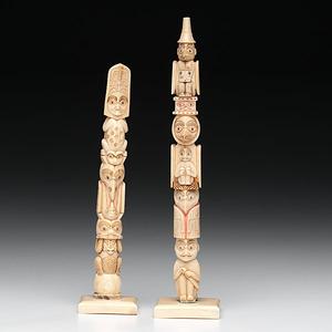 Northwest Coast Carved and Inked Ivory Totem Poles