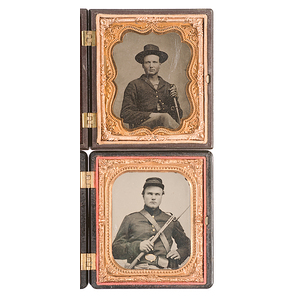 Two Fine Sixth Plates of Armed Union Soldiers in Union Cases
