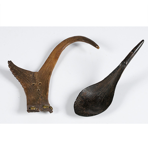 Northwest Coast Horn Spoon and Northern Plains Antler Carving