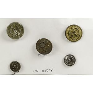 Lot of Five US Military Naval Buttons from Mid-19th Century