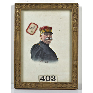 Watercolor Portrait of French Military Officer, Joffre, by B. Greni