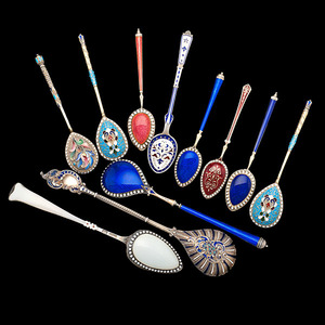 Russian and Danish Enameled Sterling Spoons, Plus