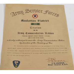 Army Service Forces, Manhattan District Citation for Sgt. Anthony Staruski