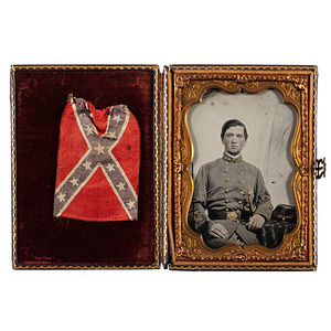 Confederate Colonel George P. Harrison, Jr., Georgia 1st Regulars & 32nd Infantry, WIA, Quarter Plate Ambrotype Plus Medals