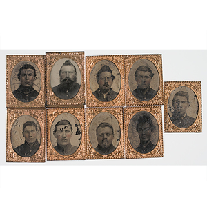 Civil War Gem-Sized Tintypes of Soldiers, Group of Nine