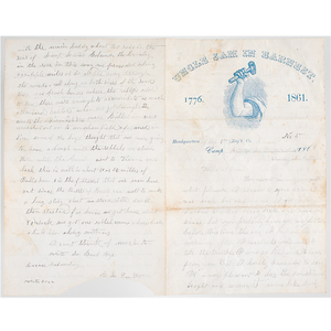 Civil War Soldier's Letter with Reference to Bull Run & Rebels, Plus CDVs, Including Autographed CDV of Capt. D.P. Jones, 83rd PA Infantry