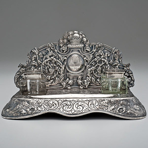 Silver and Crystal Desk Standish