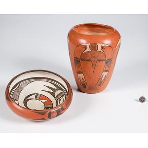 Hopi Redware Vase and Bowl