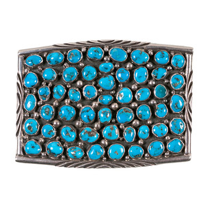 Navajo Turquoise Cluster Buckle From the Collection of Dr. Kent and Karen Vickery, Colorado