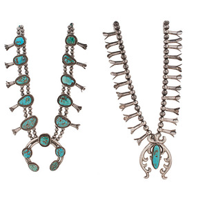 Navajo Squash Blossom Necklace with Turquoise From the Collection of Dr. Kent and Karen Vickery, Colorado