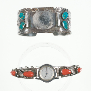 Navajo Watch Bands with Stones From the Collection of Dr. Kent and Karen Vickery, Colorado