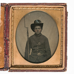 Sixth Plate Tintype of Union Private Armed with Conversion Musket
