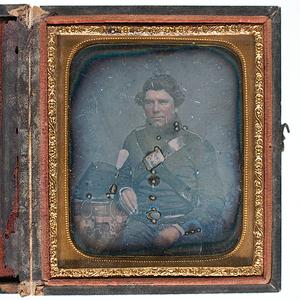 Sixth Plate Daguerreotype of Militiaman Posed with Model 1851 Shako