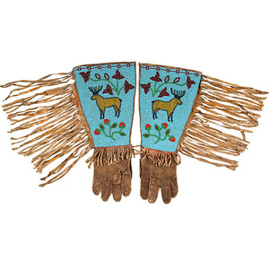 Plateau Beaded Hide Figural Gauntlets Collected by Dr. Clarence Eugene Marshall (1887-1951)