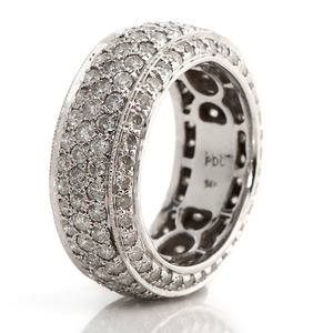 Ladies 14 Karat White Gold Pave Eternity Ring