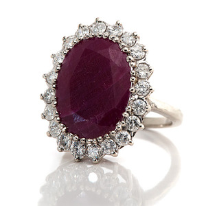 Ladies 14 Karat White Gold Ruby Ring with Diamonds