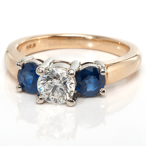 Ladies 14 Karat Sapphire and Diamond Three-Stone Ring