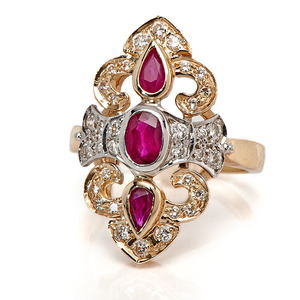 Ladies 14 Karat Ruby and Diamond Fashion Ring