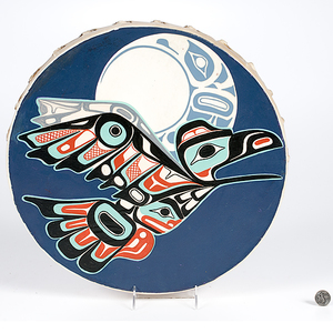 Odin Lonning Tlingit Painted Drum From the Collection of Kent and Karen Vickery