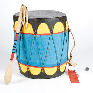 Marcello Quintana Cochiti Award Winning Polychrome Drum From the Collection of Dr. Kent and Karen Vickery, Colorado