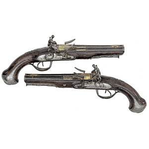 Pair of French Double-Barrel Flintlock Pistols