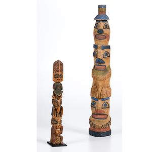 Northwest Coast Painted Totem Poles