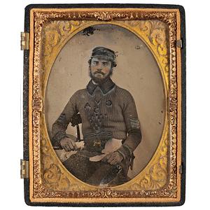 Quarter Plate Ambrotype of an English Sergeant Wearing a Unique Crimean War-Era Sweater